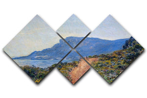 A coastal view with a bay by Monet 4 Square Multi Panel Canvas  - Canvas Art Rocks - 1