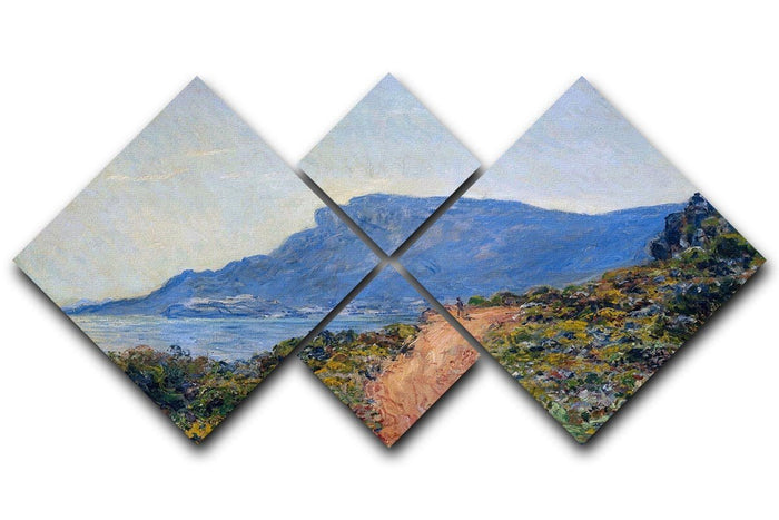 A coastal view with a bay by Monet 4 Square Multi Panel Canvas
