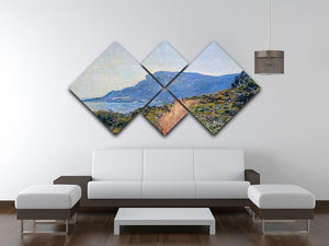 A coastal view with a bay by Monet 4 Square Multi Panel Canvas - Canvas Art Rocks - 3