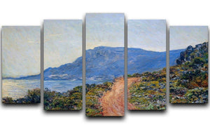 A coastal view with a bay by Monet 5 Split Panel Canvas  - Canvas Art Rocks - 1