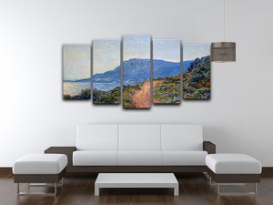 A coastal view with a bay by Monet 5 Split Panel Canvas - Canvas Art Rocks - 3