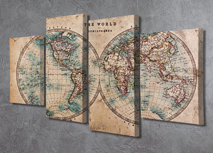 A genuine old stained World map 4 Split Panel Canvas  - Canvas Art Rocks - 2