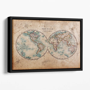A genuine old stained World map Floating Framed Canvas