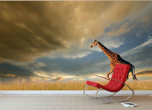 A giraffe walking on the African plains against a dramatic sky Wall Mural Wallpaper - Canvas Art Rocks - 2