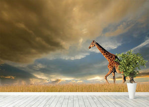 A giraffe walking on the African plains against a dramatic sky Wall Mural Wallpaper - Canvas Art Rocks - 4