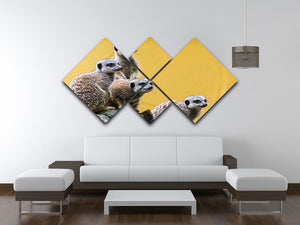 A group of meerkats seen on top of a rock 4 Square Multi Panel Canvas - Canvas Art Rocks - 3