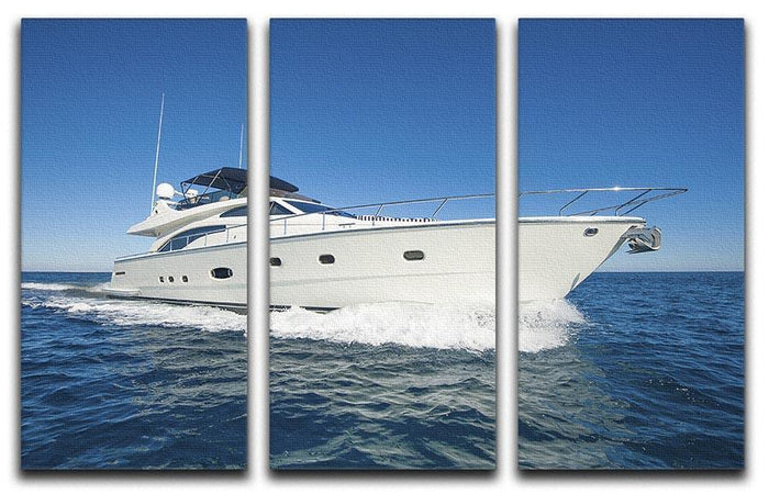 A luxury private motor yacht 3 Split Panel Canvas Print