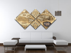 A new and accvrat map of the world 4 Square Multi Panel Canvas  - Canvas Art Rocks - 3