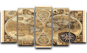 A new and accvrat map of the world 5 Split Panel Canvas  - Canvas Art Rocks - 1
