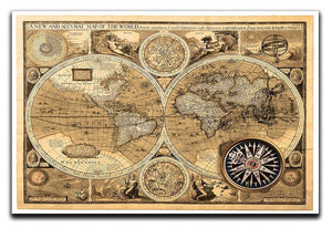 A new and accvrat map of the world Canvas Print or Poster  - Canvas Art Rocks - 1