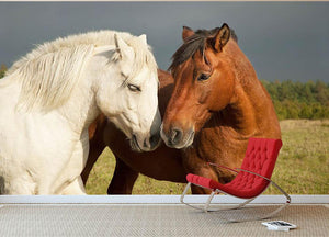 A pair of horses showing affection Wall Mural Wallpaper - Canvas Art Rocks - 2