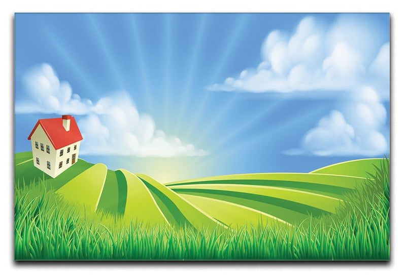 A rolling hills fields farm sunrise Canvas Print or Poster  - Canvas Art Rocks - 1
