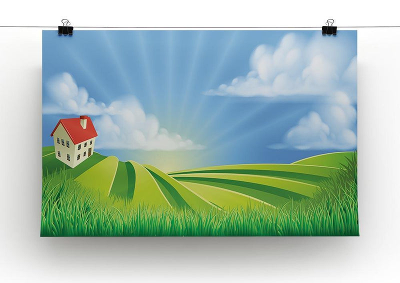 A rolling hills fields farm sunrise Canvas Print or Poster - Canvas Art Rocks - 2
