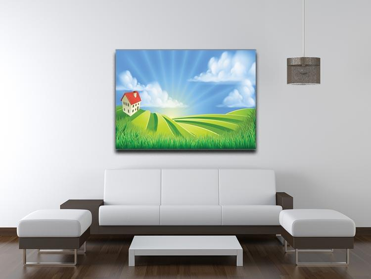 A rolling hills fields farm sunrise Canvas Print or Poster - Canvas Art Rocks - 4