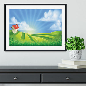 A rolling hills fields farm sunrise Framed Print - Canvas Art Rocks - 1