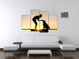 A silhouette of a girl sitting outside in the grass with her pet German Shepherd Mix Dog feeding him treats during training in front of a sunsetting sky. 4 Split Panel Canvas - Canvas Art Rocks - 3