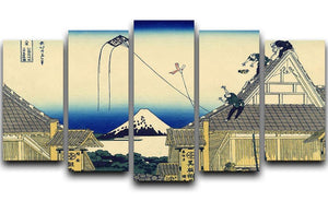A sketch of the Mitsui shop by Hokusai 5 Split Panel Canvas  - Canvas Art Rocks - 1