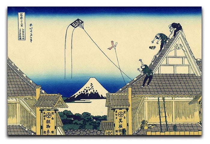 A sketch of the Mitsui shop by Hokusai Canvas Print or Poster