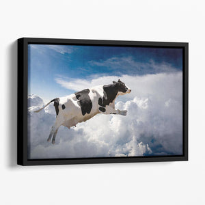 A super cow flying over clouds Floating Framed Canvas - Canvas Art Rocks - 1