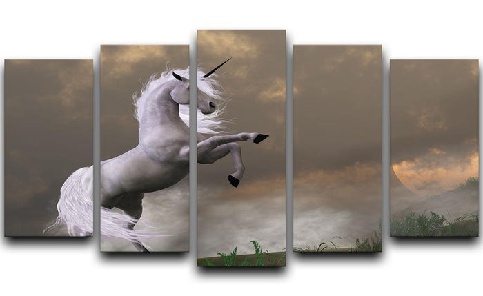 A unicorn stag asserts its power 5 Split Panel Canvas