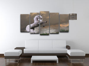A unicorn stag asserts its power 5 Split Panel Canvas  - Canvas Art Rocks - 3