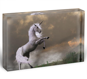 A unicorn stag asserts its power Acrylic Block - Canvas Art Rocks - 1
