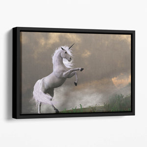 A unicorn stag asserts its power Floating Framed Canvas
