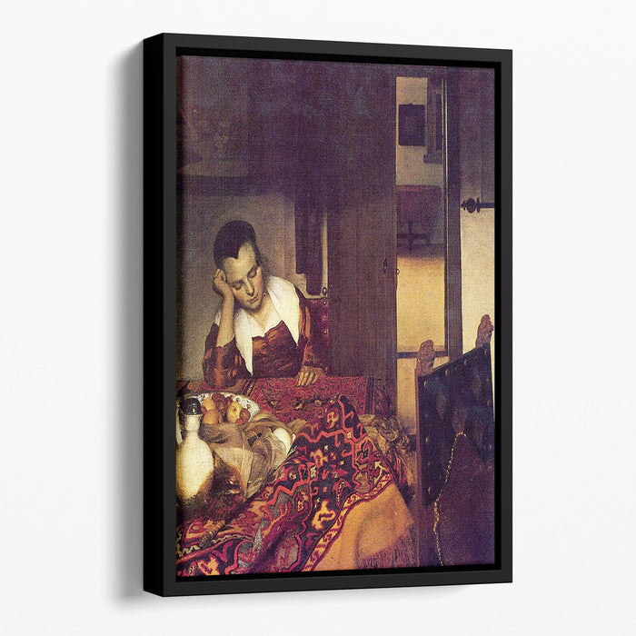A woman asleep by Vermeer Floating Framed Canvas