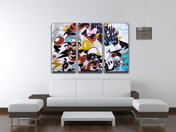 Abstract Graffiti 3 Split Panel Canvas Print - Canvas Art Rocks - 3