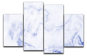 Abstract blue marble patterned 4 Split Panel Canvas  - Canvas Art Rocks - 1