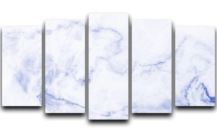 Abstract blue marble patterned 5 Split Panel Canvas