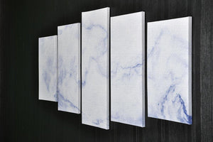 Abstract blue marble patterned 5 Split Panel Canvas  - Canvas Art Rocks - 2