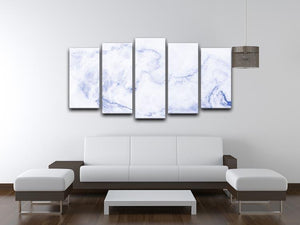 Abstract blue marble patterned 5 Split Panel Canvas  - Canvas Art Rocks - 3