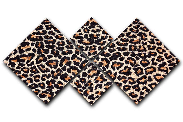 Abstract texture of leopard 4 Square Multi Panel Canvas