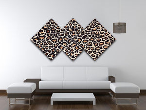 Abstract texture of leopard 4 Square Multi Panel Canvas  - Canvas Art Rocks - 3