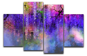 Abstract violet red and yellow color flowers 4 Split Panel Canvas  - Canvas Art Rocks - 1
