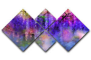 Abstract violet red and yellow color flowers 4 Square Multi Panel Canvas  - Canvas Art Rocks - 1