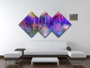 Abstract violet red and yellow color flowers 4 Square Multi Panel Canvas  - Canvas Art Rocks - 3