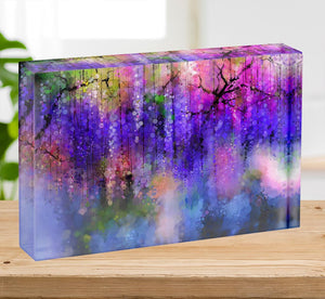 Abstract violet red and yellow color flowers Acrylic Block - Canvas Art Rocks - 2