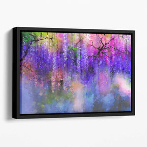 Abstract violet red and yellow color flowers Floating Framed Canvas