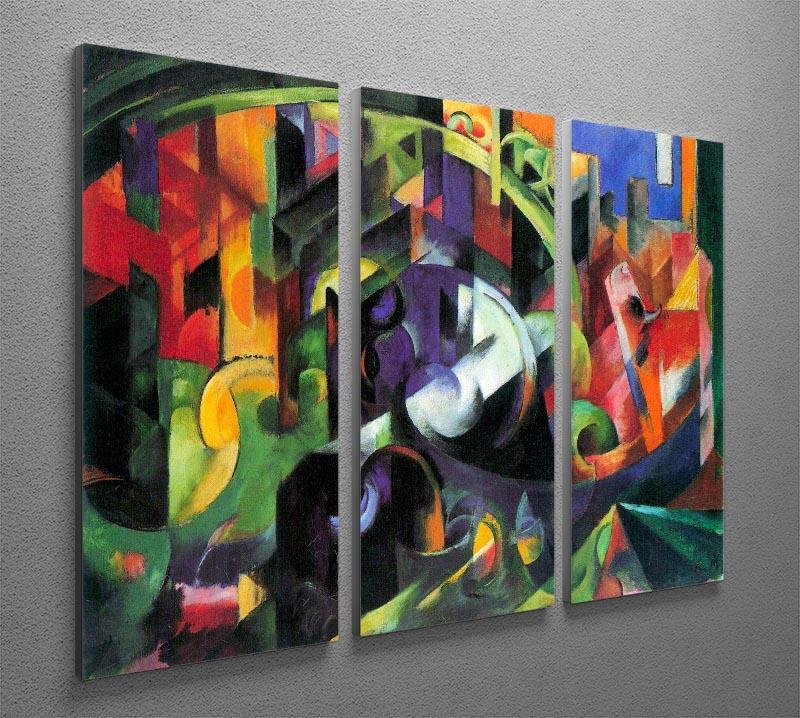 Abstract with cattle by Franz Marc 3 Split Panel Canvas Print - Canvas Art Rocks - 2