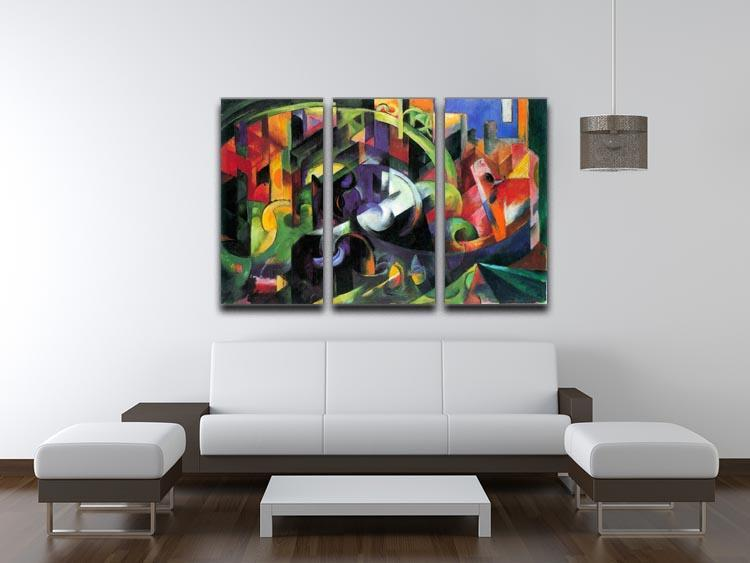 Abstract with cattle by Franz Marc 3 Split Panel Canvas Print - Canvas Art Rocks - 3
