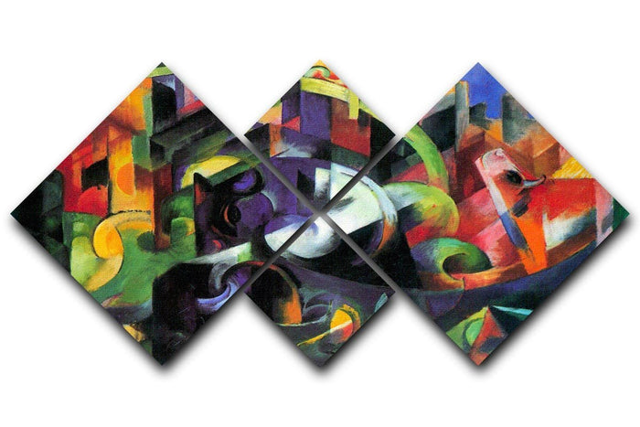 Abstract with cattle by Franz Marc 4 Square Multi Panel Canvas