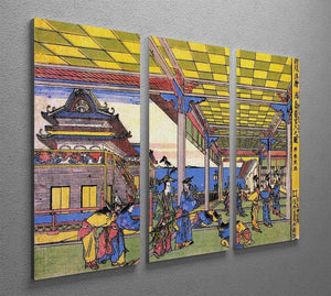 Advent of Urashima at the Dragon palace by Hokusai 3 Split Panel Canvas Print - Canvas Art Rocks - 2