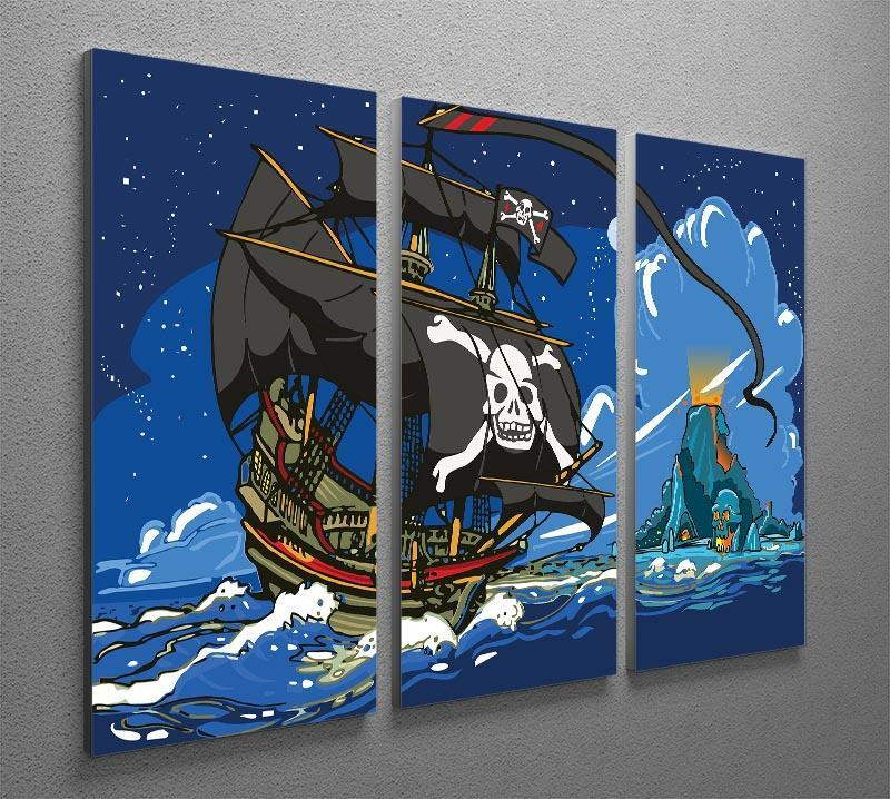 Adventure Time Pirate Ship Sailing 3 Split Panel Canvas Print - Canvas Art Rocks - 2