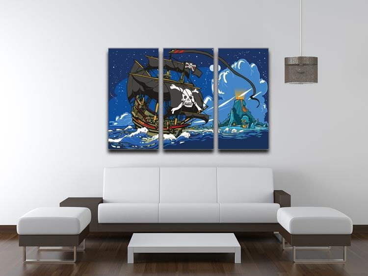 Adventure Time Pirate Ship Sailing 3 Split Panel Canvas Print - Canvas Art Rocks - 3