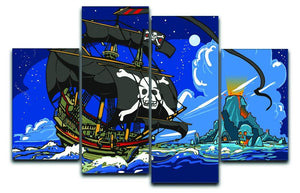 Adventure Time Pirate Ship Sailing 4 Split Panel Canvas  - Canvas Art Rocks - 1
