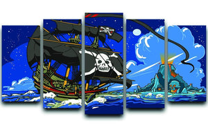 Adventure Time Pirate Ship Sailing 5 Split Panel Canvas  - Canvas Art Rocks - 1