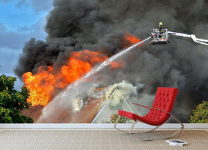 Aerial Firefighter Fights Large Fire Wall Mural Wallpaper - Canvas Art Rocks - 2
