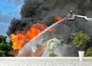 Aerial Firefighter Fights Large Fire Wall Mural Wallpaper - Canvas Art Rocks - 4